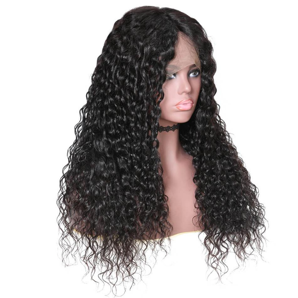 "360 Lace Wig Water Wave 150% & 180% Density Black Color, 100% Virgin Human Hair Wig 360 Lace Hair Length 10""-24""-Donmily Hair"