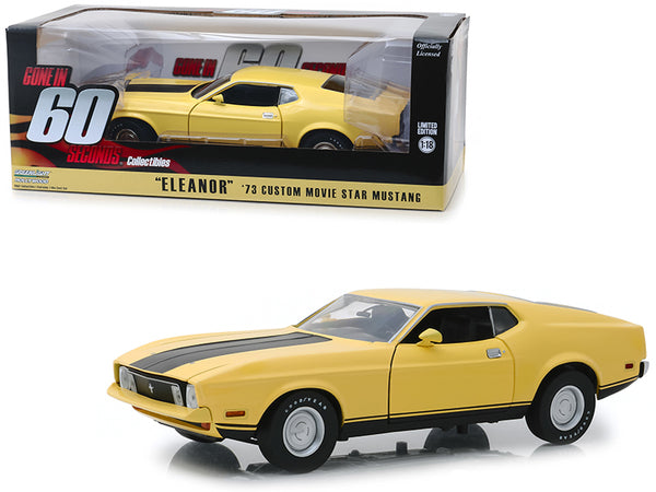 "1973 Ford Mustang Mach 1 Custom Movie Star ""Eleanor"" Yellow with Black Stripe ""Gone in 60 Seconds"" (1974) Movie 1/18 Diecast Model Car by Greenlight"