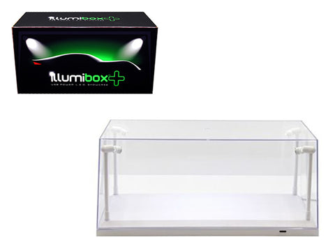 Collectible Acrylic Display Case with LED Lights and white base for 1/18 and 1/24 Diecast Models by Illumibox