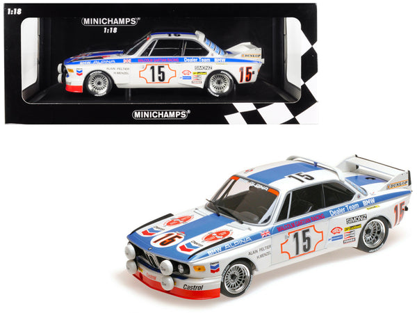 "BMW 3.0 CSL #15 Harald Menzel / Alain Peltier ""BMW Alpina"" 24 Hours SPA 1973 (Malcolm Gartian Racing) Limited Edition to 336 pieces Worldwide 1/18 Diecast Model Car by Minichamps"""