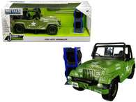 "1992 Jeep Wrangler Matte Army Green with Extra Wheels ""Just Trucks"" Series 1/24 Diecast Model Car by Jada"