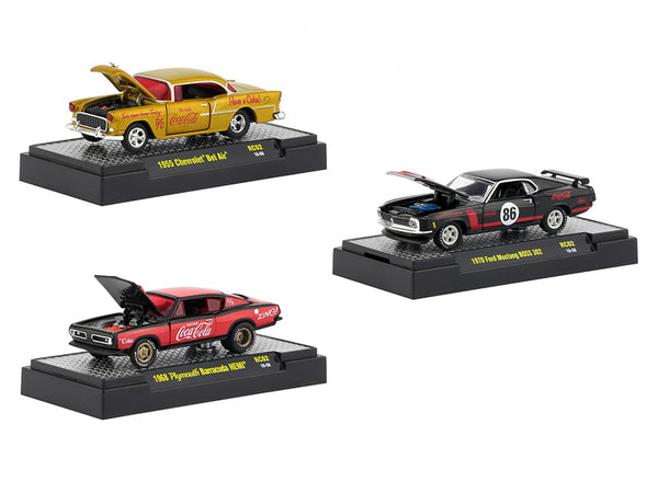 """Coca-Cola"" Release #2 (3 Car Set) Limited Edition to 4,800 pieces Worldwide ""Hobby Exclusive"" 1/64 Diecast Models by M2 Machines"