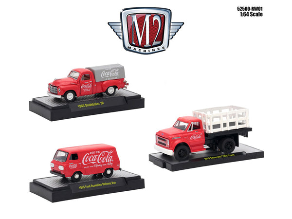 """Coca-Cola"" Release #1 (3 Car Set) Limited Edition to 4,800 pieces Worldwide Hobby Exclusive 1/64 Diecast Models by M2 Machines"