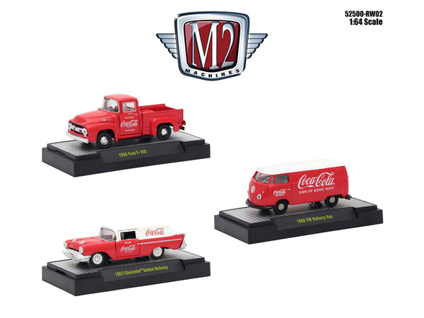"""Coca-Cola"" Release #2 (3 Car Set) Limited Edition to 4,800 pieces Worldwide Hobby Exclusive 1/64 Diecast Models by M2 Machines"
