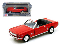 1964 1/2 Ford Mustang Convertible Red 1/24 Diecast Model Car by Motormax