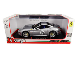"Ferrari California T Hot Rod Silver #14 ""70th Anniversary"" 1/18 Diecast Model Car by Bburago"