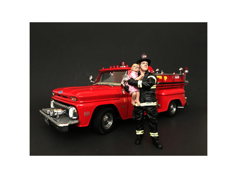 Firefighter Saving Life with Baby Figures For 1:18 Diecast Models by American Diorama