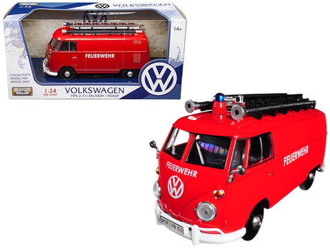 Volkswagen Type 2 (T1) Fire Van Red 1/24 Diecast Model by Motormax
