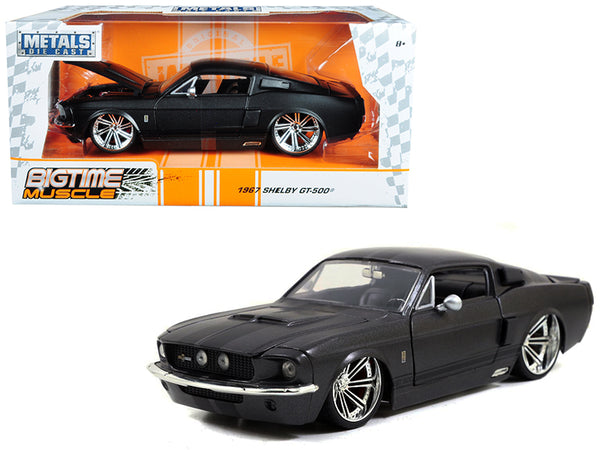 1967 Ford Mustang Shelby GT500 Matte Dark Gray with Black Stripes 1/24 Diecast Model Car by Jada