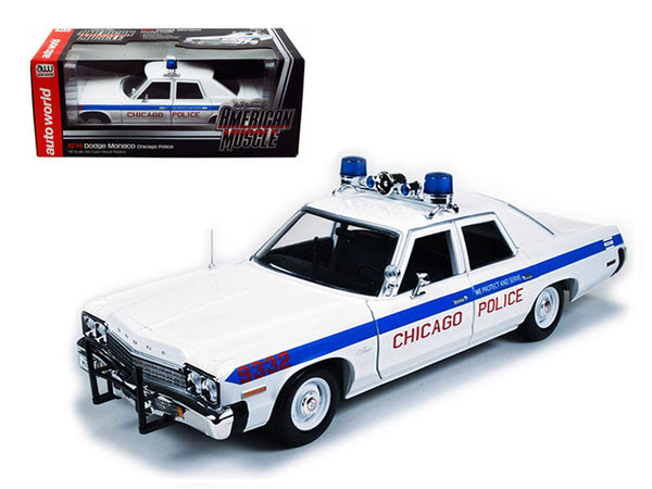 1974 Dodge Monaco Chicago Department Police Car Limited to 2000pcs 1/18 Diecast Model Car by Autoworld