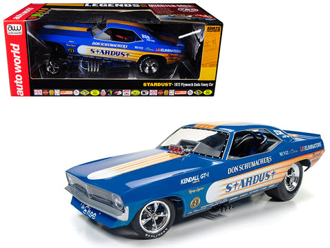 "Don Schumacher's 1972 Plymouth Cuda ""Stardust"" Bobby Rowe Funny Car Limited Edition to 750pcs 1/18 Model Car by Autoworld"
