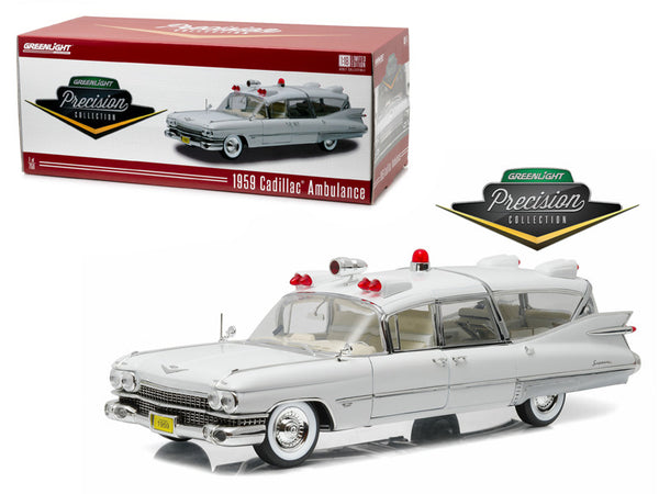 "1959 Cadillac Ambulance White ""Precision Collection"" Limited Edition 1/18 Diecast Model Car  by Greenlight"