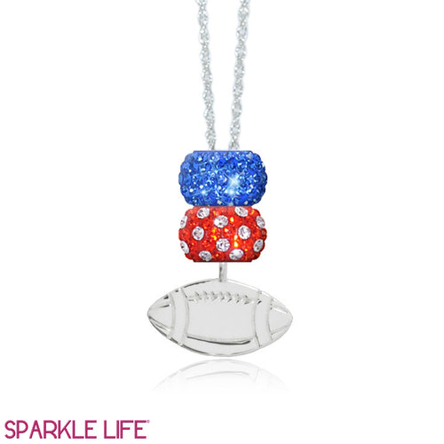 Orange & Blue 2 Sparklie Football Necklace