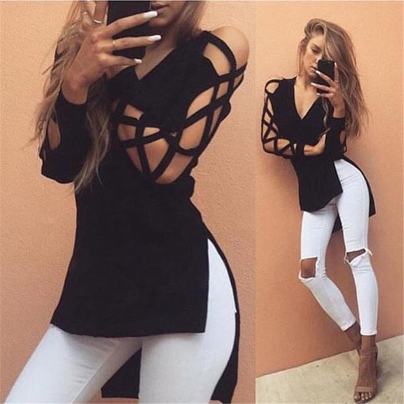 Casual Club Sexy Hollow  Long Sleeve top