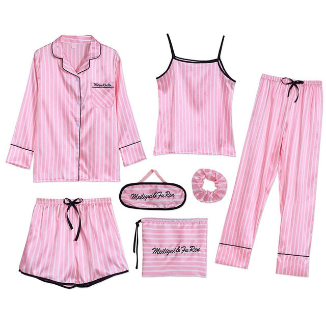 7 PCS womens pajamas set 7jian tiaowen pink / L