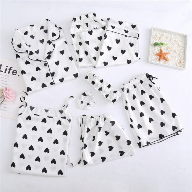 7 PCS womens pajamas set 7jian taoxin white / L