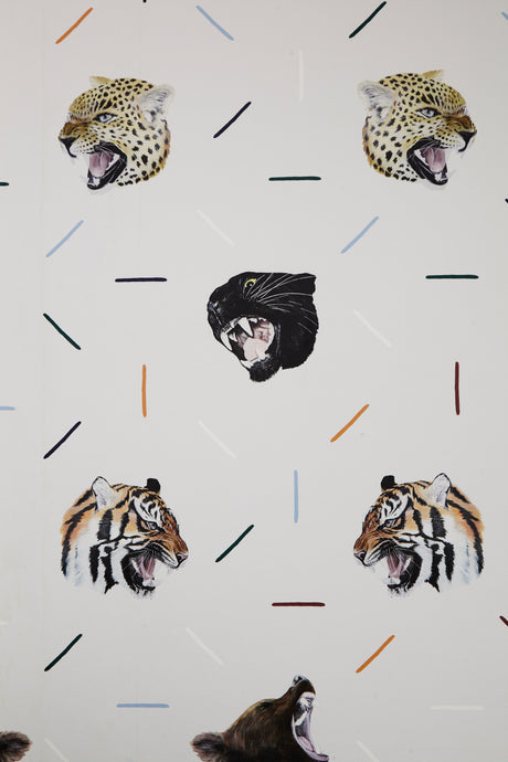 Boys bedroom wallpaper, perfect for your animal loving kids to roar with! Tigers, leopards, bears and lions - perfect for your safari and zoo loving kids