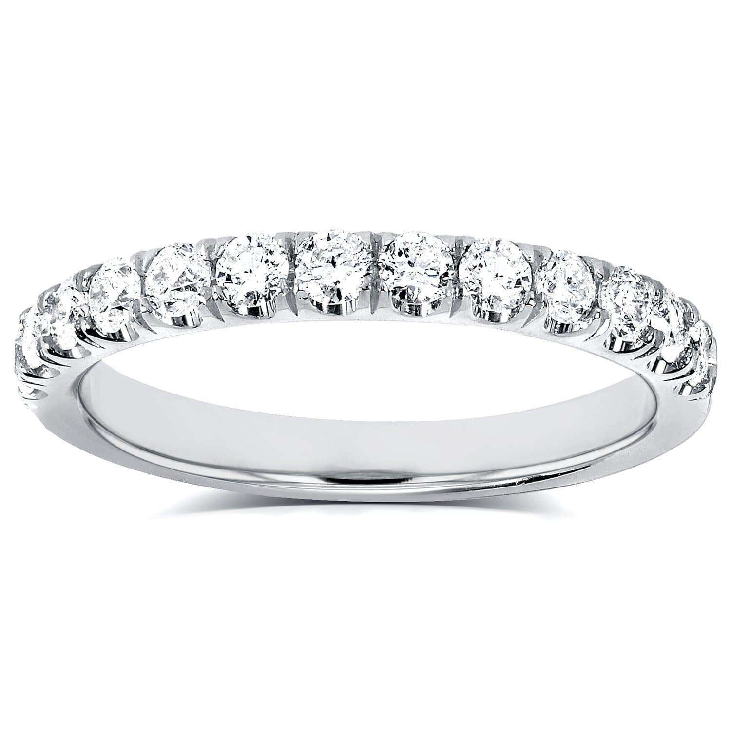 Flame French Pave Lab Grown Diamond Comfort Fit Womens Wedding Band 1/2 CTW 14k White Gold (DEF/VS)