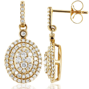 Diamond Dangle Oval Halo Earrings 1/2 CTW in 10K Yellow Gold