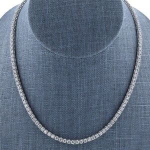 One of a Kind 15 Carats TGW Moissanite Tennis Necklace in 18k White Gold