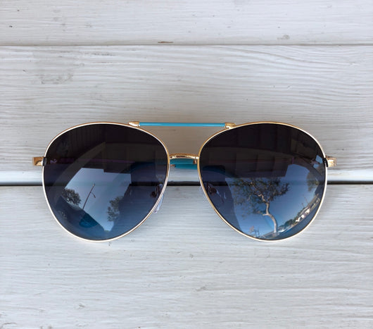 Aviator Sunglasses - Blue Frame with Gold