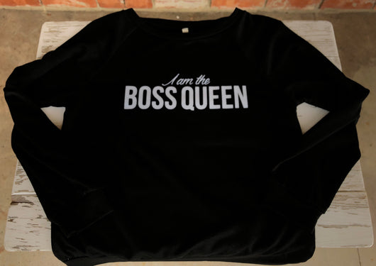 I am the Boss Queen Black Pullover Sweatshirt