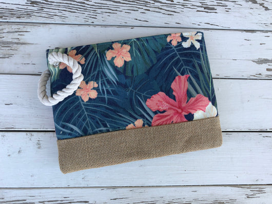 Aloha Floral Clutch/Cosmetic Bag w/Rope Strap