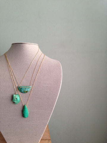 Chrysocolla Half Moon Necklace