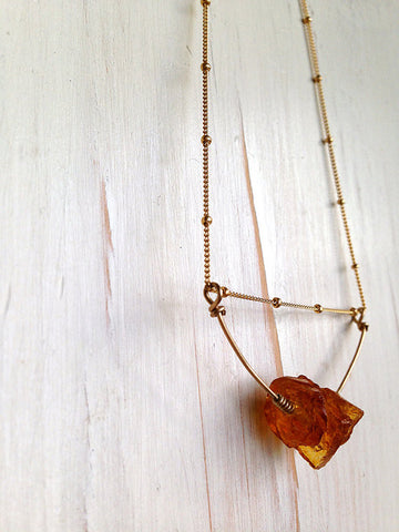 Citrine Raw Stone Pendant Necklace