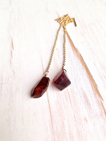 Raw Garnet Earrings