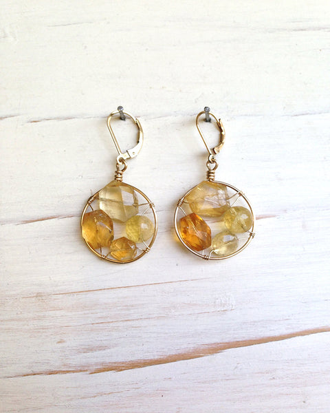 Citrine Frame Earrings