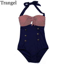 Trangel new one piece swimsuit women sexy swimwear 2017 vintage striped style bikini one piece monokini
