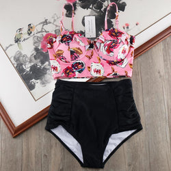 High Waist Bikini Set 2018 Biquini Plus Size Swimwear Women 3XL Print Swimsuit Bandage Bathing Swimming Suit Bikinis