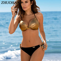 Bikinis 2019 Plus Size Swimwear Women Sexy Halter String Shiny Bordered Bathing Suit Push Up Swimsuit Lace Up Twist Bikini Set