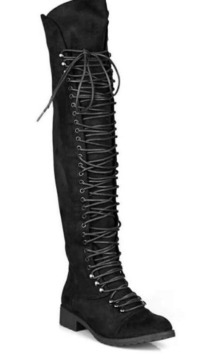 CoccaBee Shoes- Over the knee laced black combat boots