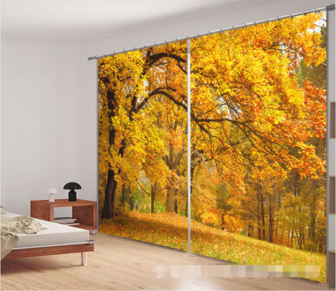 3D Autumn Forest Trees 1110 Curtains Drapes Wallpaper AJ Wallpaper