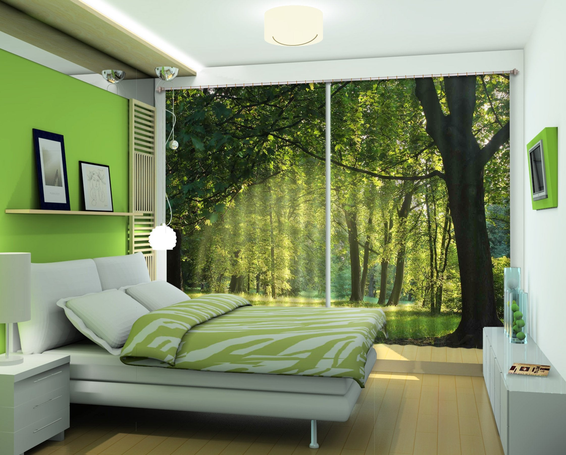 3D Green Lawn Trees 2232 Curtains Drapes Wallpaper AJ Wallpaper