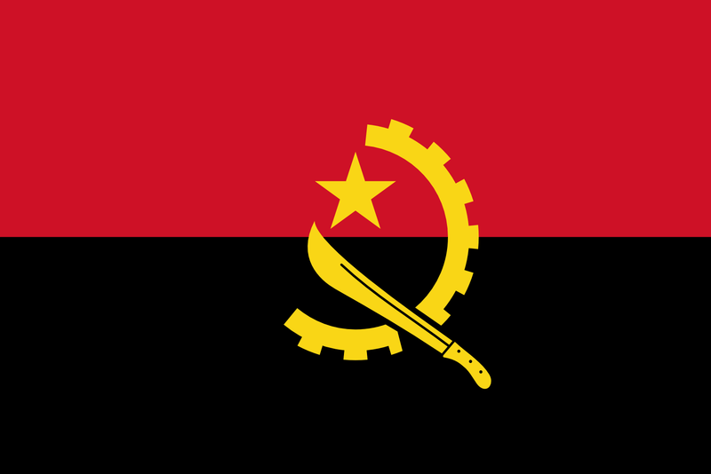 Angola 1.5yd (137cm x 68cm) Sewn Flag with Rope & Toggle