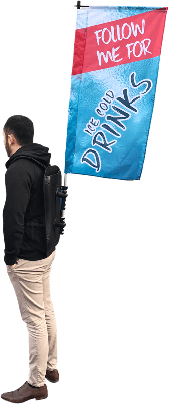Backpack advertising flag