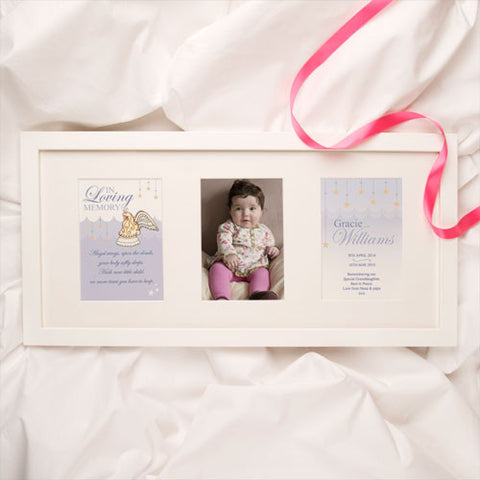 Personalised Baby and Child Memorial Print: Girl Angel Design 3 Aperture Frame | ShaneToddGifts.co.uk