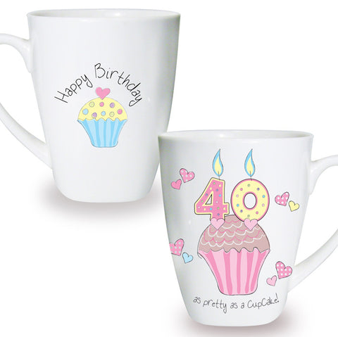 Buy Cupcake 40th Birthday Latte Mug