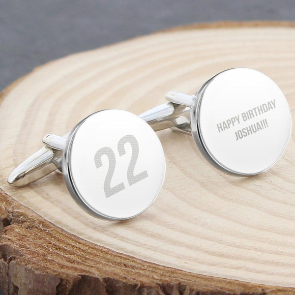Personalised Birthday Big Age Round Cufflinks