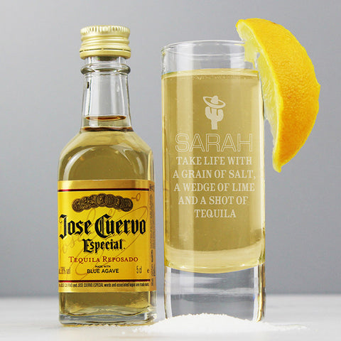 Buy Personalised Tequila Shot Glass and Miniature Tequila
