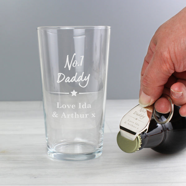 Personalised No.1 Pint glass & Bottle Opener Set