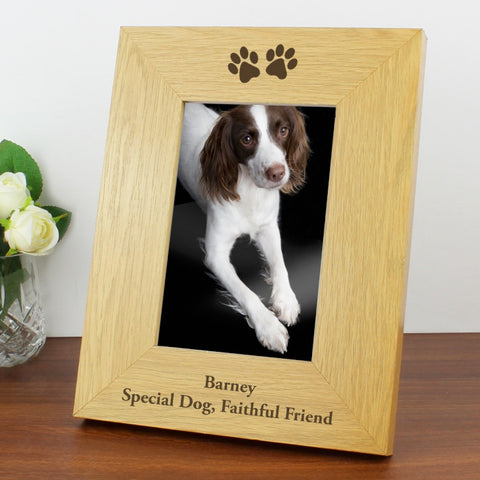Buy Personalised Oak Finish 4x6 Paw Prints Photo Frame