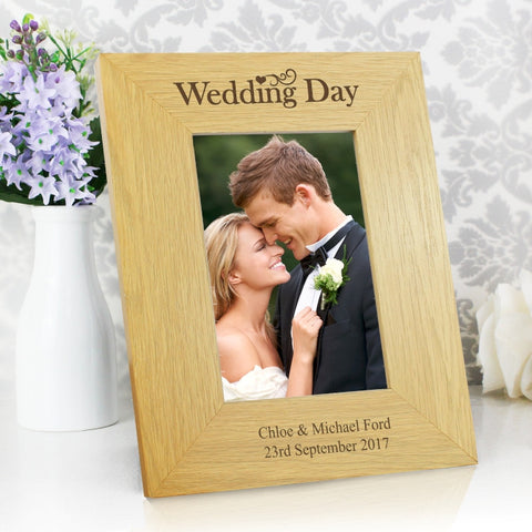 Buy Personalised Oak Finish 4x6 Wedding Day Photo Frame