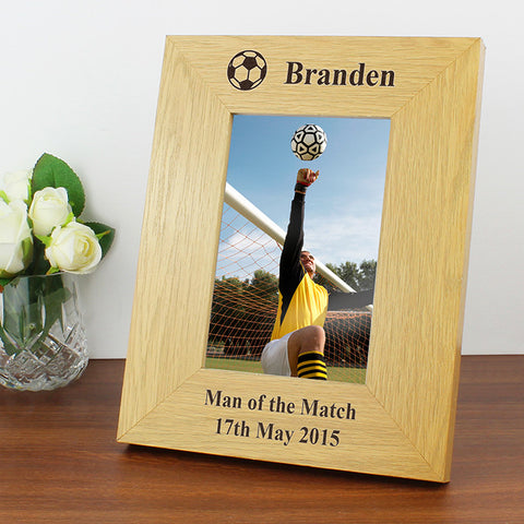 Buy Personalised Oak Finish 4x6 Football Photo Frame