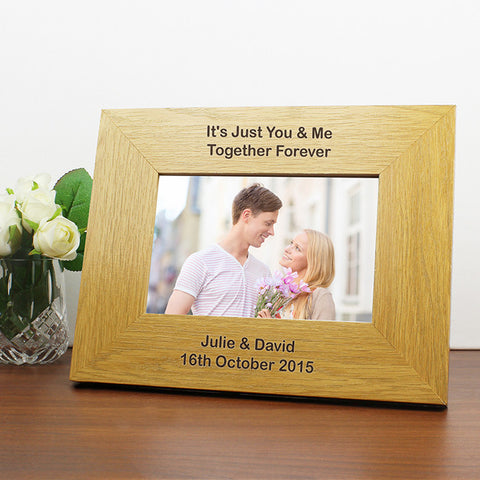 Buy Personalised Oak Finish 6x4 Landscape Photo Frame - Long Message.