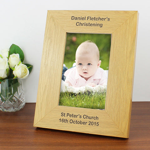 Buy Personalised Oak Finish 4x6 Portrait Photo Frame - Long Message