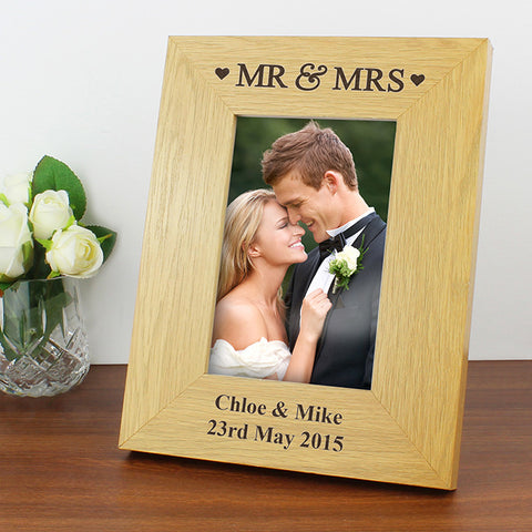 Buy Personalised Oak Finish 4x6 Mr & Mrs Photo Frame